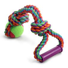 """Игрушка для собак """"Верёвка с ручкой, 2 узла и мяч"""", d65/380мм"""