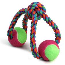 """Игрушка для собак """"Верёвка-восьмёрка, узел и 2 мяча"""", d65/320мм"""