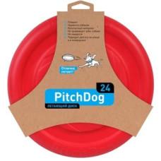 PitchDog летающий диск d 24 см, красный