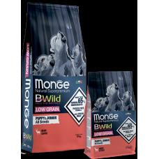 Купить Monge Dog BWild LOW GRAIN Puppy & junior низкозерновой сухой корм из мяса оленя для щенков всех пород