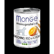 Monge Dog Monoproteico Tacchino, Riso e Agrum монобелковый паштет для собак всех пород и возрастов с добавлением риса и апельсина, содержащий только белок индейки