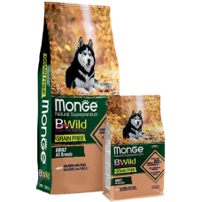 Купить Monge Dog BWild GRAIN FREE беззерновой корм из лосося и гороха для взрослых собак всех пород