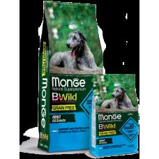 Купить Monge Dog BWild GRAIN FREE беззерновой корм из анчоуса c картофелем и горохом для собак всех пород