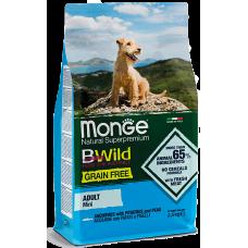 Купить Monge Dog BWild GRAIN FREE Mini беззерновой корм из анчоуса с картофелем и горохом для взрослых собак мелких пород