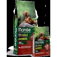 Купить Monge Dog BWild GRAIN FREE беззерновой корм из мяса ягненка с картофелем и горохом для взрослых собак всех пород