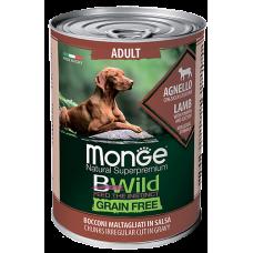 Купить Monge Dog BWild GRAIN FREE беззерновые консервы из ягненка с тыквой и кабачками для взрослых собак всех пород