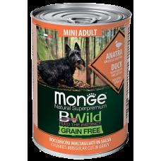 Monge BWild Grain Free Mini Duck беззерновые консервы с уткой, тыквой и кабачками для взрослых собак мелких пород