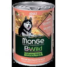 Купить Monge Dog BWild GRAIN FREE беззерновые консервы из лосося с тыквой и кабачками для взрослых собак всех пород