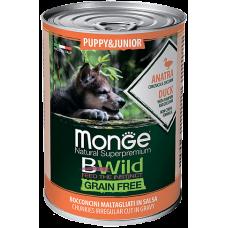 Купить Monge Dog BWild GRAIN FREE Puppy&Junior беззерновые консервы из утки с тыквой и кабачками для щенков всех пород
