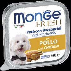 Monge Dog Fresh con Pollo нежный паштет из курицы влажный корм для собак всех пород