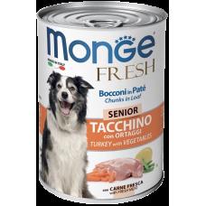 Monge Dog Fresh Chunks in Loaf консервы для пожилых собак мясной рулет индейка с овощами