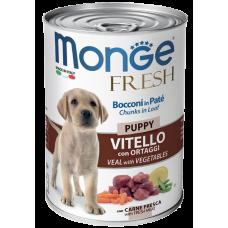 Monge Dog Fresh Chunks in Loaf консервы для щенков мясной рулет телятина с овощами