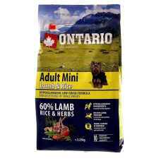 Купить Ontario Dog Adult Mini полноценный сухой корм с ягненком и рисом для собак малых пород