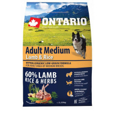 Ontario Dog Adult Medium полнорационный сухой корм с ягненком и рисом для собак средних пород