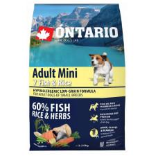 Ontario Dog Adult Mini полнорационный сухой корм с 7 видами рыбы и рисом для собак малых пород