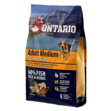 Ontario Dog Adult Medium полнорационный сухой корм с 7 видами рыбы и рисом для собак средних пород