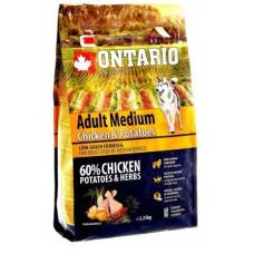 Ontario Dog Adult Medium полноценный сухой корм с курицей и картофелем для собак средних пород