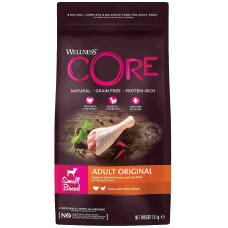 Купить Wellness Core Adult Original Small Breed Turkey with Chicken беззерновой корм из индейки с курицей для взрослых собак мелких