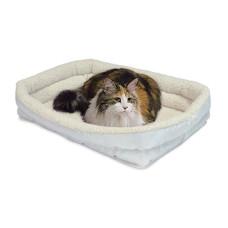 Midwest лежанка для кошек и собак Double Bolster с двойным бортом флисовая 43х28 см белая