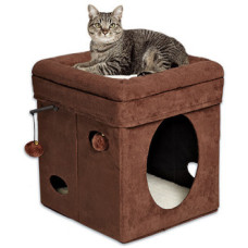 MidWest домик-лежанка для кошек Currious Cat Cube складной 38,4х38,4х42h см