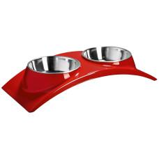 """SuperDesign миска двойная на меламиновой подставке """"Элеганс"""" 2 х 160 мл красная"""